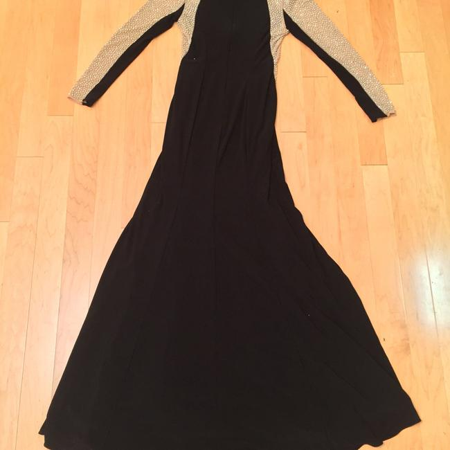 Xscape Women's Long Sleeved Beaded Gown - Black Nude Silver Dress Image 10