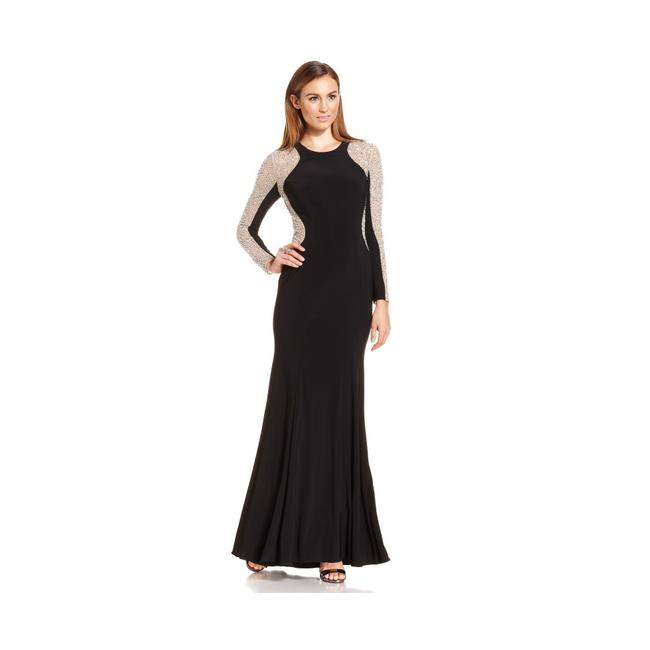 Xscape Women's Long Sleeved Beaded Gown - Black Nude Silver Dress Image 2