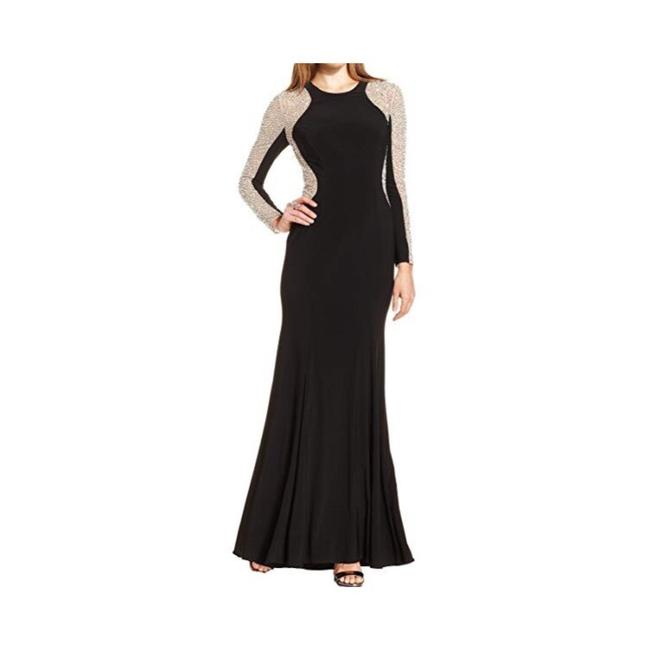 Xscape Women's Long Sleeved Beaded Gown - Black Nude Silver Dress Image 3