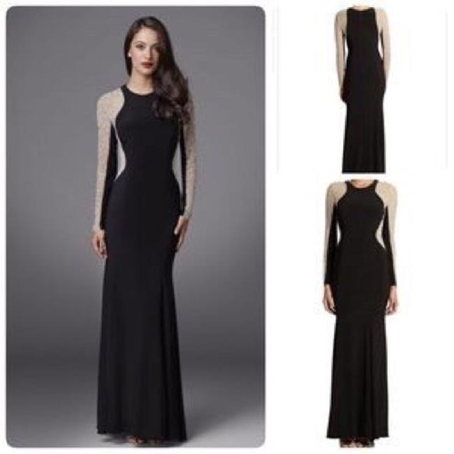 Xscape Women's Long Sleeved Beaded Gown - Black Nude Silver Dress Image 4