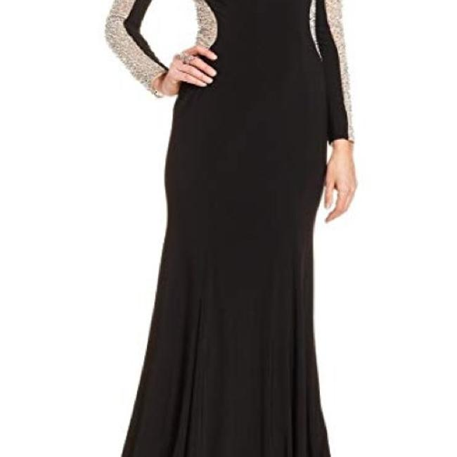 Xscape Women's Long Sleeved Beaded Gown - Black Nude Silver Dress Image 6