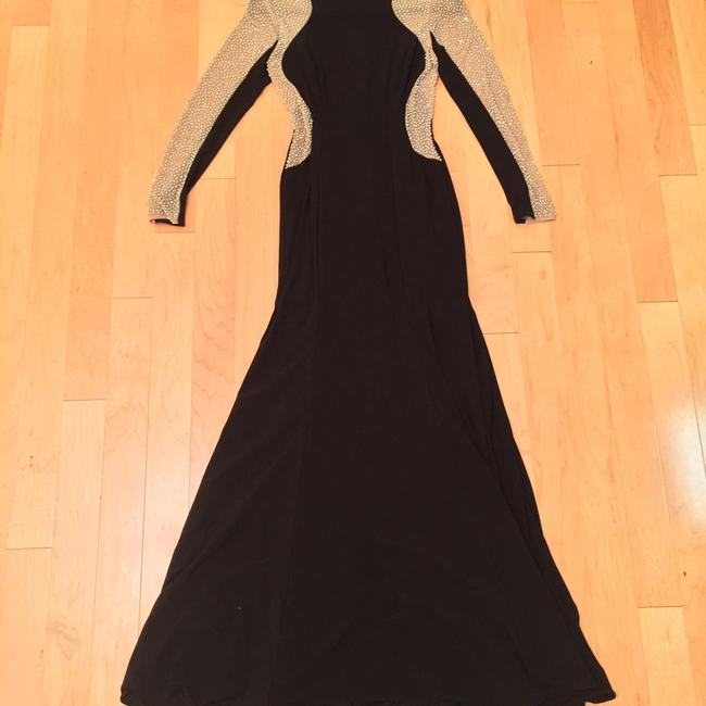 Xscape Women's Long Sleeved Beaded Gown - Black Nude Silver Dress Image 8