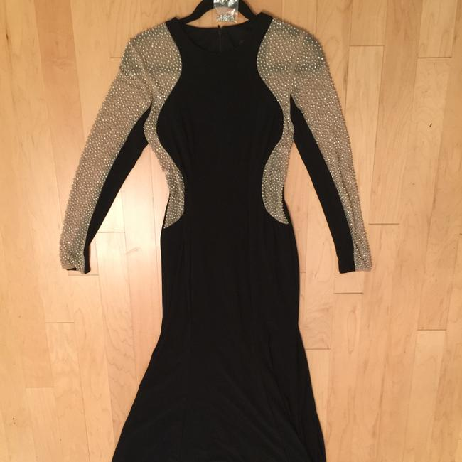 Xscape Women's Long Sleeved Beaded Gown - Black Nude Silver Dress Image 9