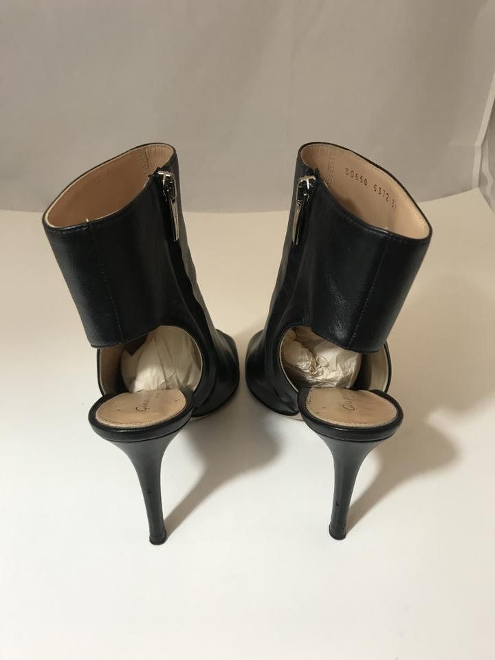 a7c27fd5d301 Gianvito Rossi Black 10918 Leather Peeptoe Cut Out Booties Pumps ...
