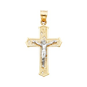 TD Collections 14K Two Tone Gold Jesus Crucifix Cross Religious Pendant