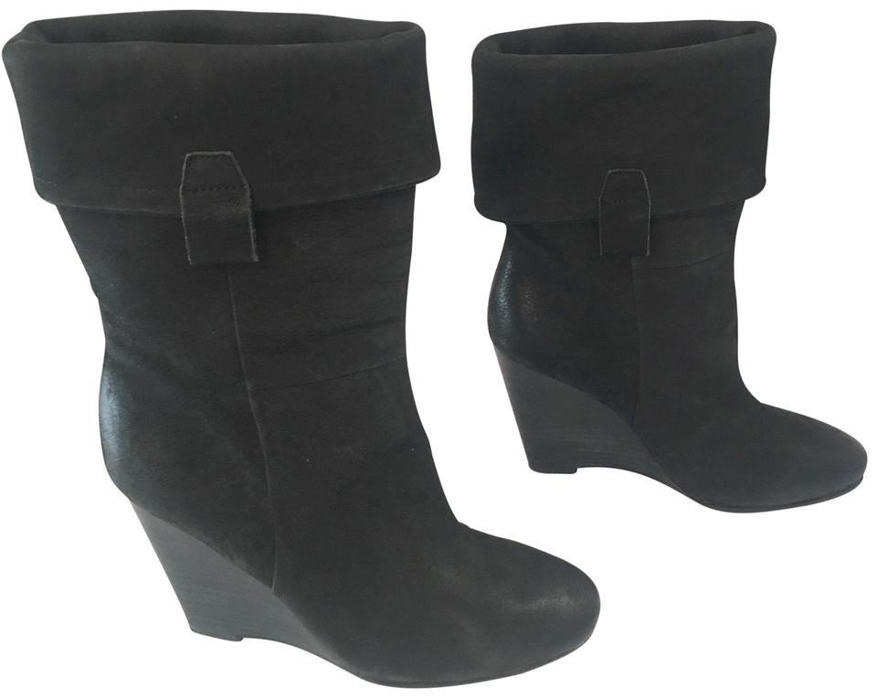 Ash Black Fold Over Suede Boots/Booties Wedge Ankle Boots/Booties Suede 99ec1e