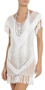 Melissa Odabash White Riri Open Knit Crochet Fringe Dress