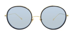 Dita NEW Dita Freebird Navy 18K Gold Mirrored AR Lens Round Sunglasses $450
