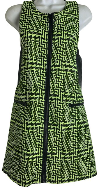 Preload https://img-static.tradesy.com/item/24036049/nasty-gal-womens-neon-yellow-black-zig-zag-zipper-front-short-casual-dress-size-8-m-0-1-650-650.jpg
