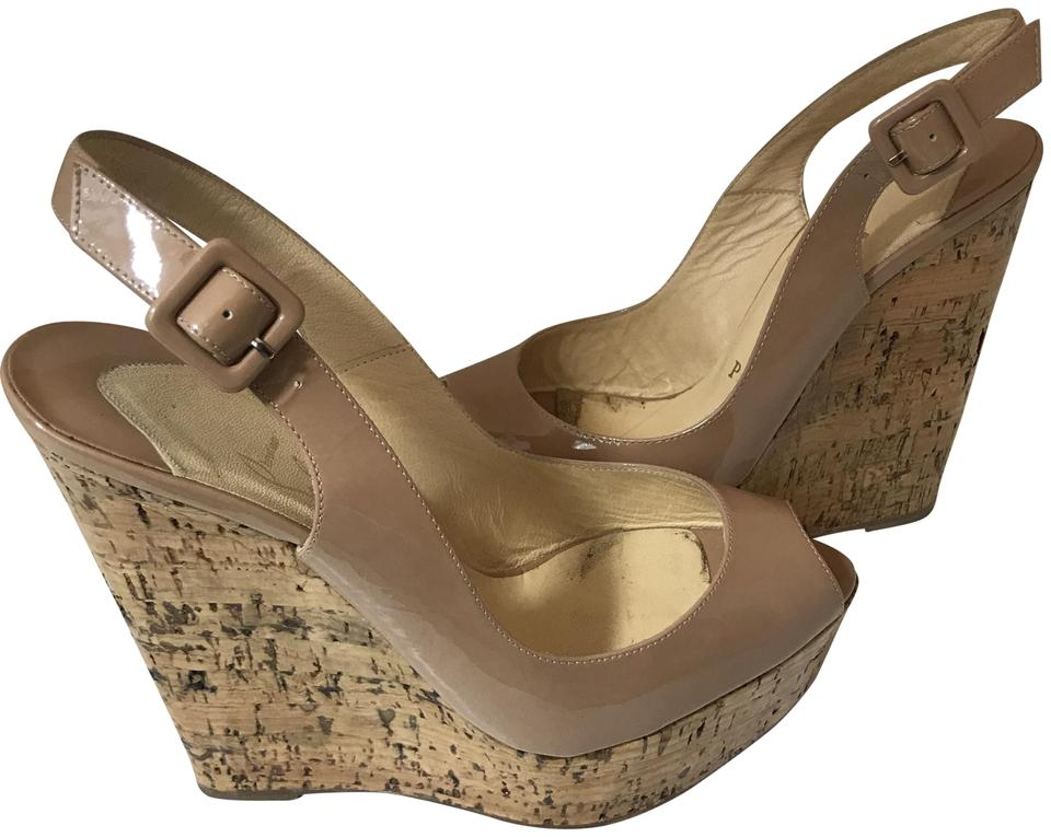 9b8259f2be7 Christian Louboutin Tan Nude 12918 Patent Leather Cork Sandal 37. Wedges