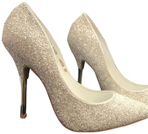 Andrea white sparkly with silver heel Pumps
