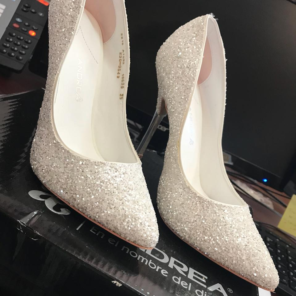 12e9e14d763 Andrea White Sparkly with Silver Heel Pumps Size US 8 Narrow (Aa, N) 26%  off retail