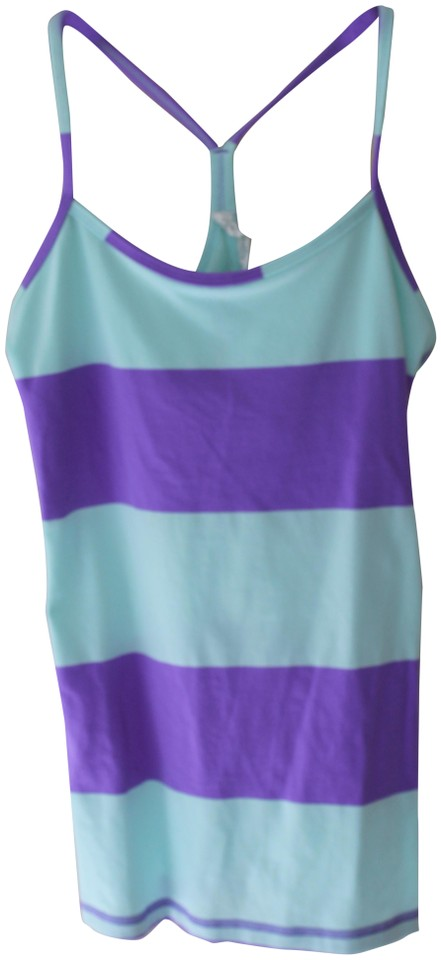 e7ba732a77964a Lululemon Purple Power Y Bold Stripe Power Yoga Running Gym Activewear Top.  Size  6 ...