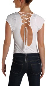 Free People Lace Up Bodysuit White Cute Top Ivory