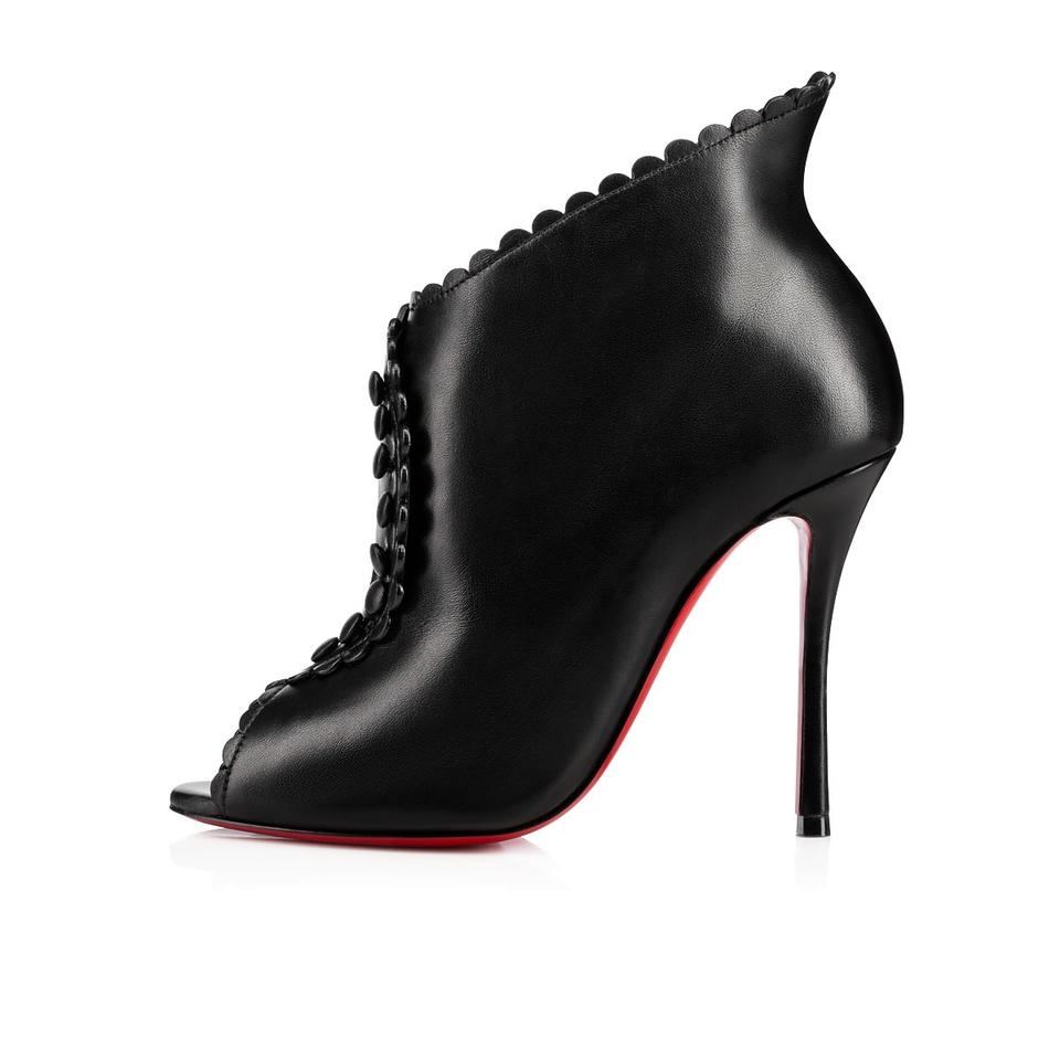 46cfc07b237e Christian Louboutin Black Deguise 100 Scalloped Button Leather Peep Toe  Ankle Heels Boots Booties