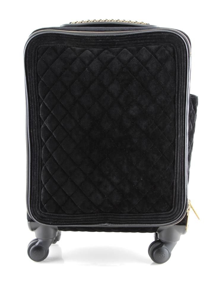 92f12e2a80a1 Chanel Coco Case Trolley Luggage Black Velvet Weekend/Travel Bag ...