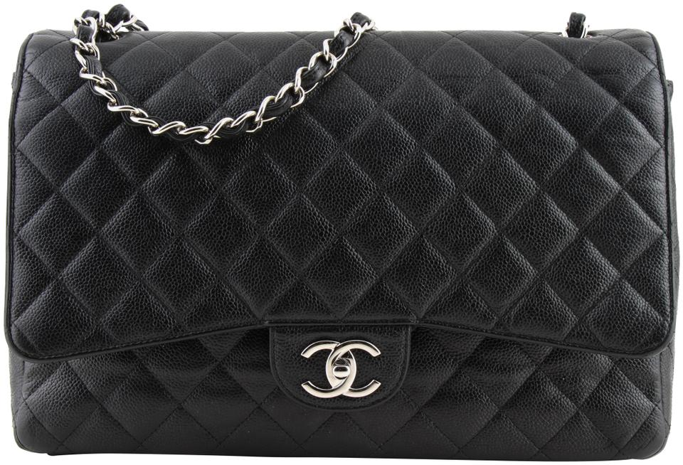 f9284fee Chanel Classic Flap Maxi Quilted Caviar Classic Double Black Leather  Shoulder Bag 11% off retail