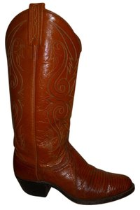 Dan Post Boots Vintage Leather Western Lizard tan Boots