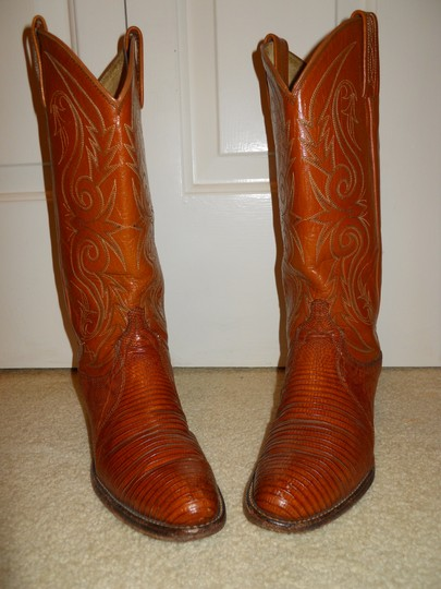 Dan Post Boots Vintage Leather Western Lizard tan Boots Image 1