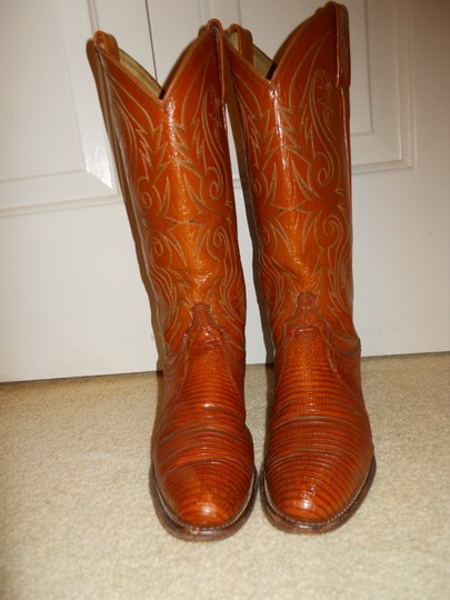 Dan Post Boots Vintage Leather Western Lizard tan Boots Image 11