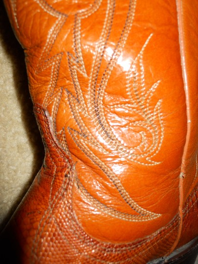 Dan Post Boots Vintage Leather Western Lizard tan Boots Image 2
