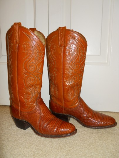 Dan Post Boots Vintage Leather Western Lizard tan Boots Image 5