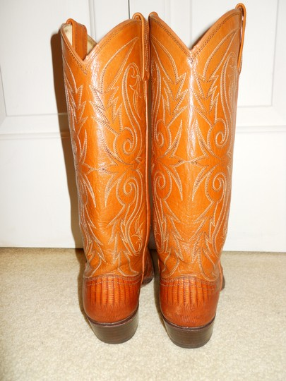 Dan Post Boots Vintage Leather Western Lizard tan Boots Image 6