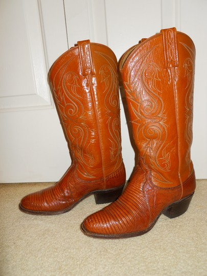 Dan Post Boots Vintage Leather Western Lizard tan Boots Image 7