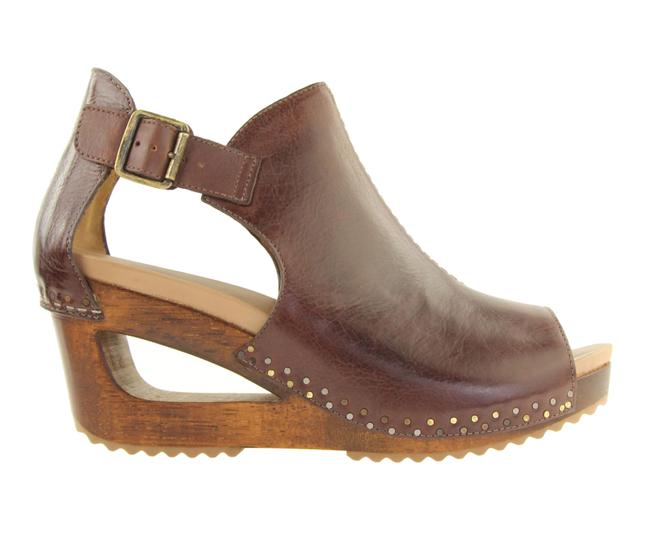 Item - Sable Brown Tumbled Calf Leather Wedge Mules/Slides Size EU 41 (Approx. US 11) Regular (M, B)