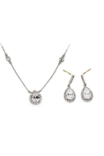 Ocean Fashion Elegant Crystal Droplets Silver Necklace Earrings Set Image 5