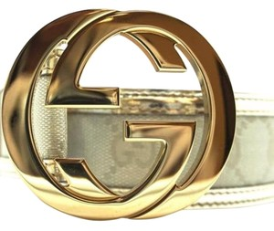 Gucci Gucci Silver Belt Gold Buckle