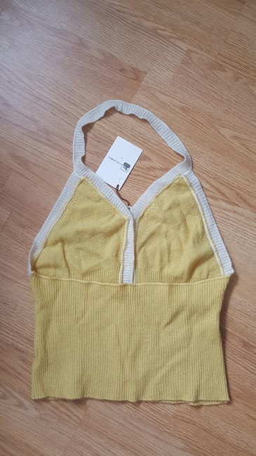Colombo Casual Yellow, ivory Halter Top Image 4
