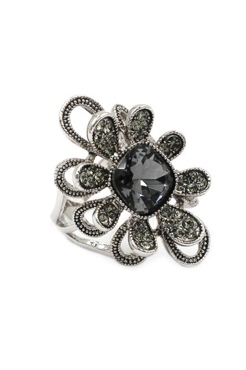 Ocean Fashion Silver Gray Crystal Flower Rings Image 1