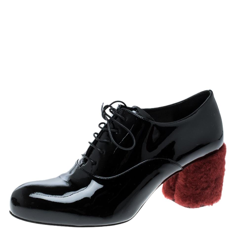 157efd245791 Miu Miu Black Patent Leather Red Shearling Fur Heel Oxfords Formal ...