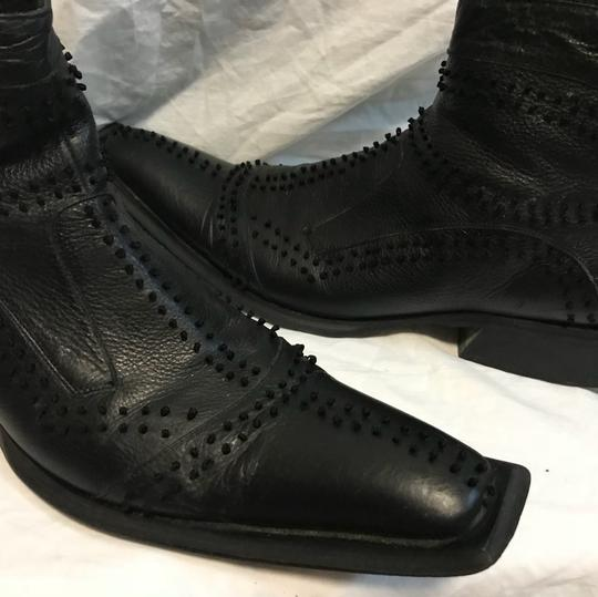 Black Ornate Leather Ankle Boots 12 Shoes Image 1