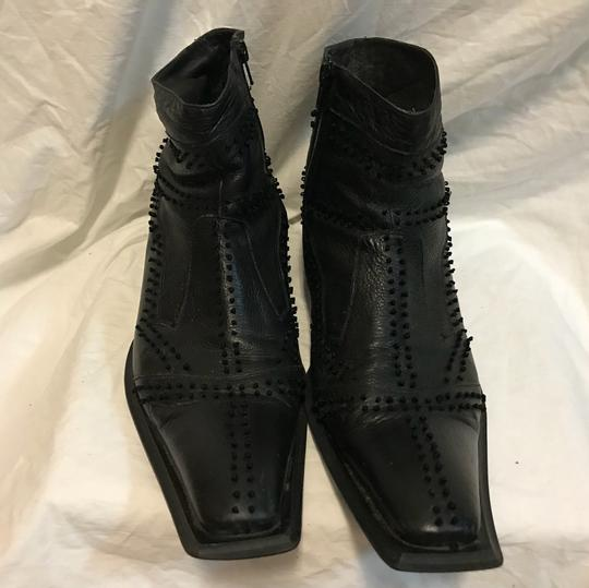 Black Ornate Leather Ankle Boots 12 Shoes Image 2
