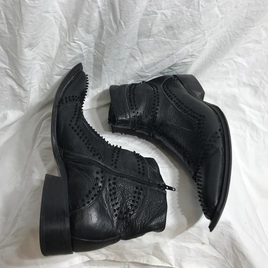 Black Ornate Leather Ankle Boots 12 Shoes Image 3