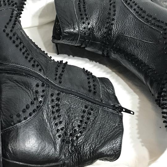 Black Ornate Leather Ankle Boots 12 Shoes Image 4