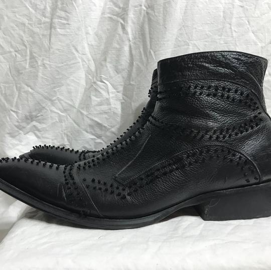 Black Ornate Leather Ankle Boots 12 Shoes Image 5