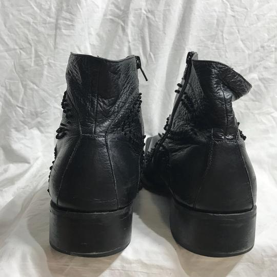 Black Ornate Leather Ankle Boots 12 Shoes Image 6
