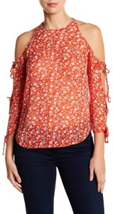 Veronica Beard Floral Cold Shoulder Silk Top Red