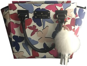 Kate Spade Butterfly White Leather Satchel in Mulit