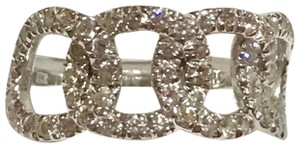 Roberto Coin SOLID 18K WHITE GOLD - CHAIN LINK PAVE DIAMOND RING - SIZE = 6