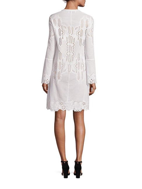 Item - White Embroidered Cotton Lace-up Short Casual Dress Size 2 (XS)