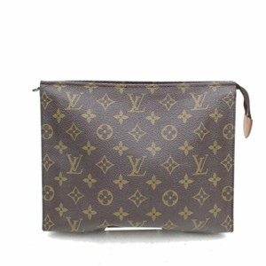 Louis Vuitton Pouch Cosmetic Make Up Flat Trousse Brown Clutch