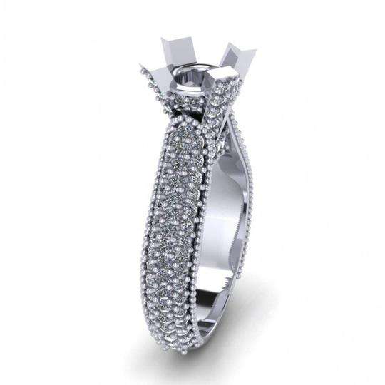 Madina Jewelry White 1.90 Ct Ladies Round Cut Diamond Semi Mount In Pave Setting Ring Image 3