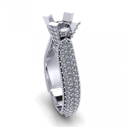 Madina Jewelry White 1.90 Ct Ladies Round Cut Diamond Semi Mount In Pave Setting Ring Image 4