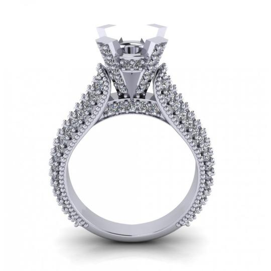 Madina Jewelry White 1.90 Ct Ladies Round Cut Diamond Semi Mount In Pave Setting Ring Image 5