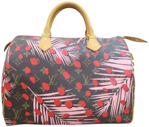 Louis Vuitton Canvas Brown-pink-red Speedy Tote in Brown & Pink & Red
