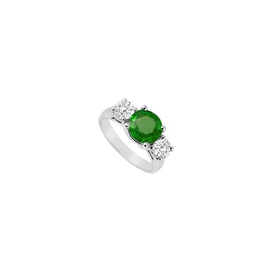 Preload https://img-static.tradesy.com/item/24037383/white-green-sterling-silver-frosted-emerald-and-cubic-zirconia-three-stone-ring-0-0-540-540.jpg